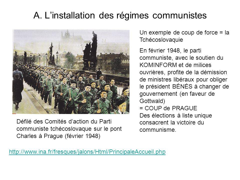 A. L'installation des régimes communistes