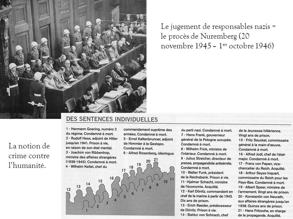 Le jugement de responsables nazis = le procès de Nuremberg (20 novembre 1945 – 1er octobre 1946)