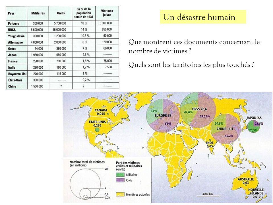 Un désastre humain Que montrent ces documents concernant le nombre de victimes .