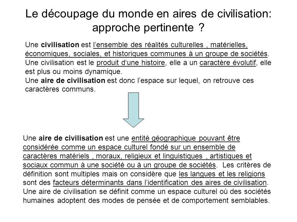 Le découpage du monde en aires de civilisation: approche pertinente