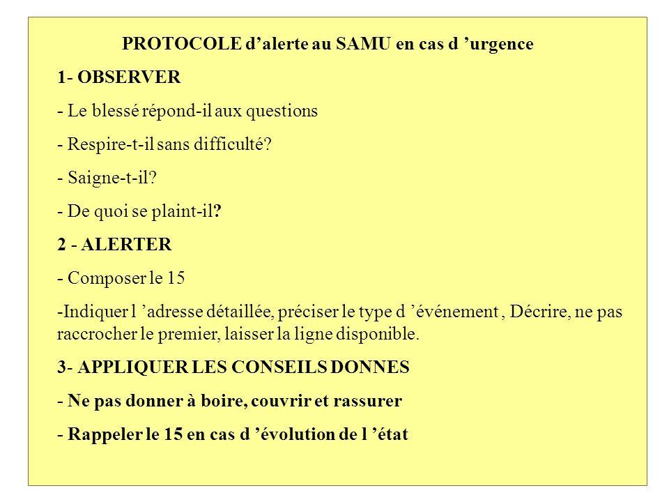 PROTOCOLE d'alerte au SAMU en cas d 'urgence 1- OBSERVER