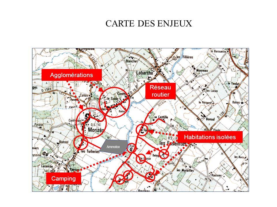 CARTE DES ENJEUX Agglomérations Réseau routier Habitations isolées