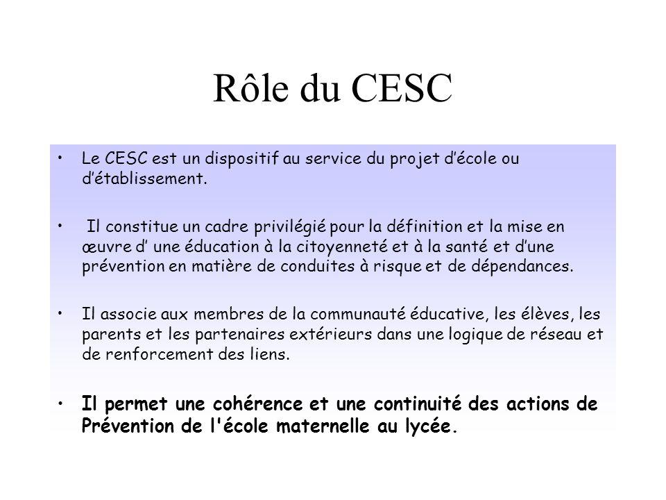 Rôle du CESC Le CESC est un dispositif au service du projet d'école ou d'établissement.