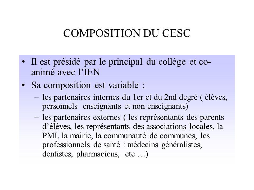 COMPOSITION DU CESC Il est présidé par le principal du collège et co-animé avec l'IEN. Sa composition est variable :