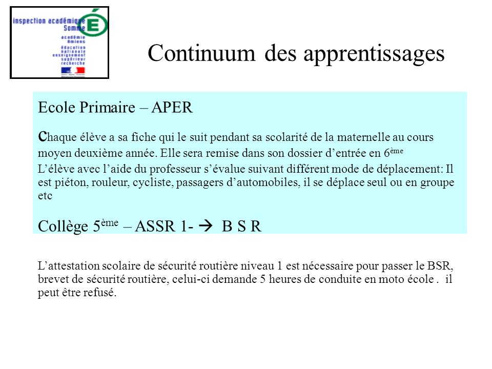 Continuum des apprentissages