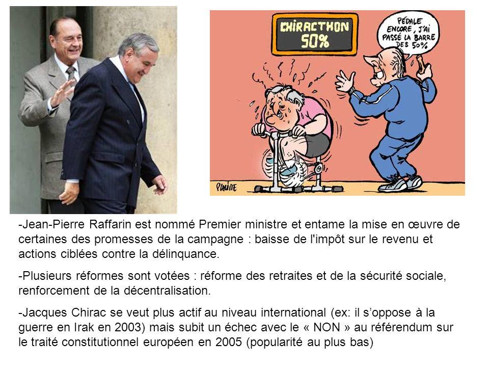 Jean-Pierre Raffarin est nommé Premier ministre et entame la mise en œuvre de certaines des promesses de la campagne : baisse de l impôt sur le revenu et actions ciblées contre la délinquance.