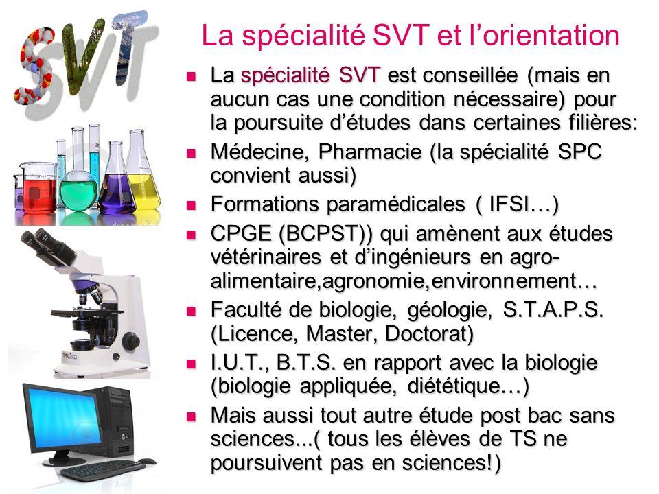 La spécialité SVT et l'orientation