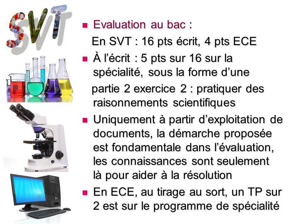 Evaluation au bac : En SVT : 16 pts écrit, 4 pts ECE. À l'écrit : 5 pts sur 16 sur la spécialité, sous la forme d'une.