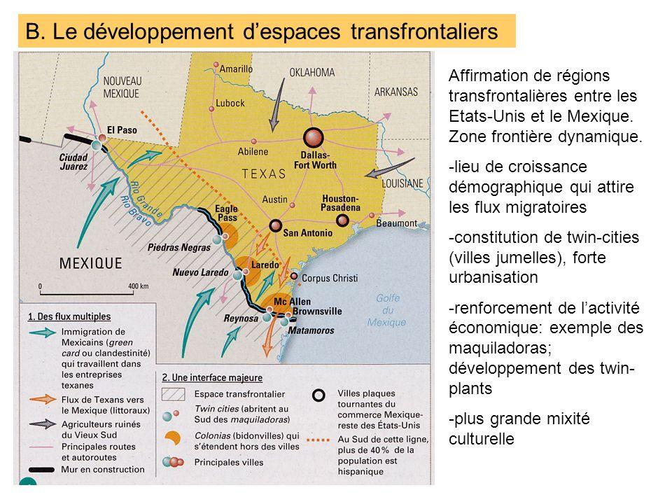 B. Le développement d'espaces transfrontaliers