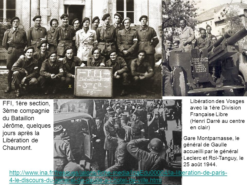 Libération des Vosges avec la 1ère Division Française Libre (Henri Darré au centre en clair)