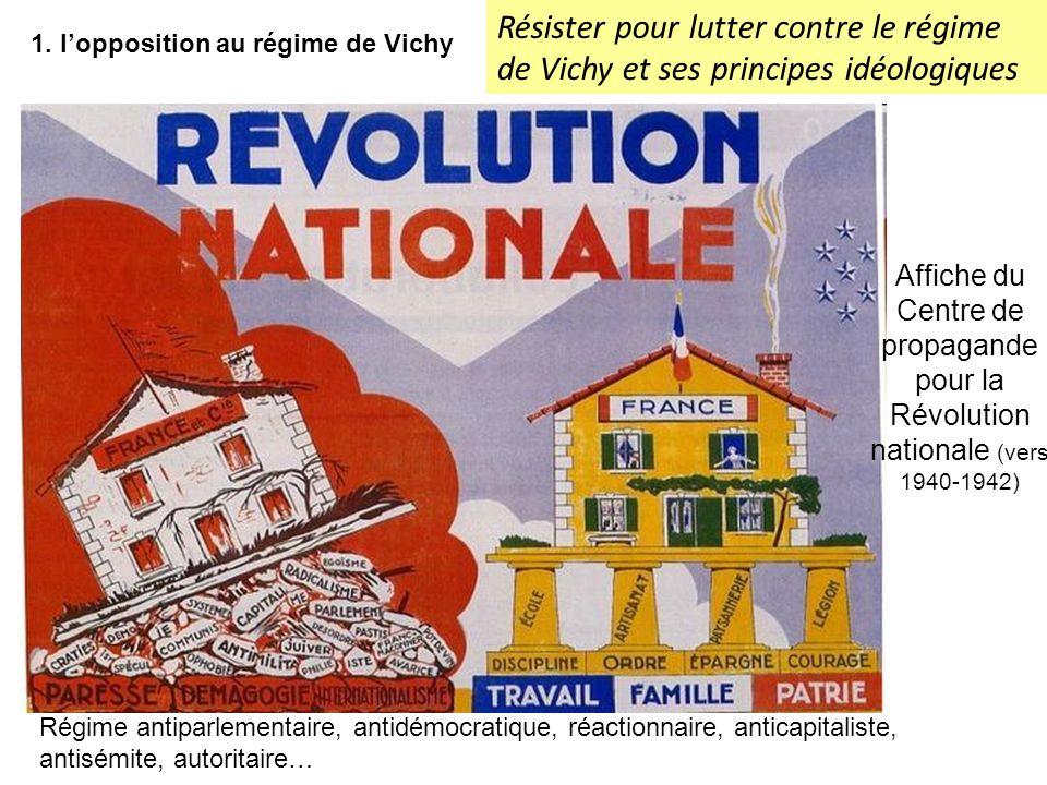 Résister pour lutter contre le régime de Vichy et ses principes idéologiques