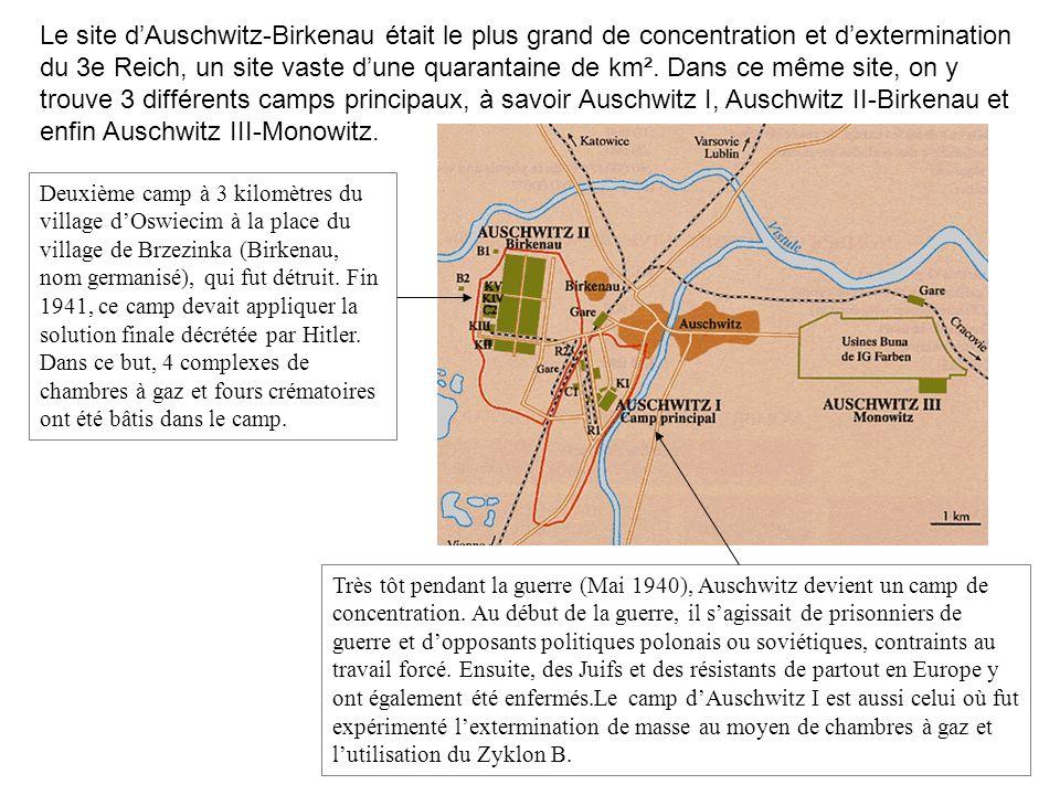 Le site d'Auschwitz-Birkenau était le plus grand de concentration et d'extermination du 3e Reich, un site vaste d'une quarantaine de km². Dans ce même site, on y trouve 3 différents camps principaux, à savoir Auschwitz I, Auschwitz II-Birkenau et enfin Auschwitz III-Monowitz.