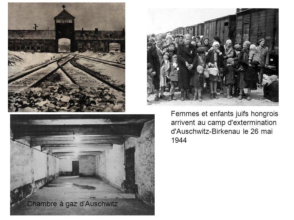 Femmes et enfants juifs hongrois arrivent au camp d extermination d Auschwitz-Birkenau le 26 mai 1944