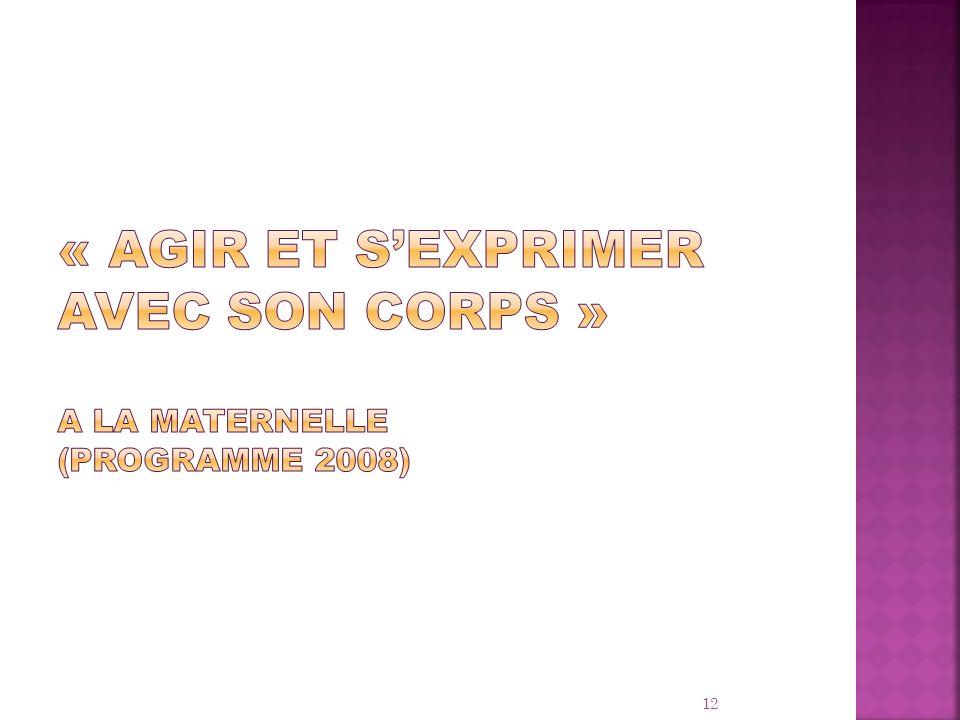 « AGIR ET S'exprimer avec son corps » A la maternelle (programme 2008)