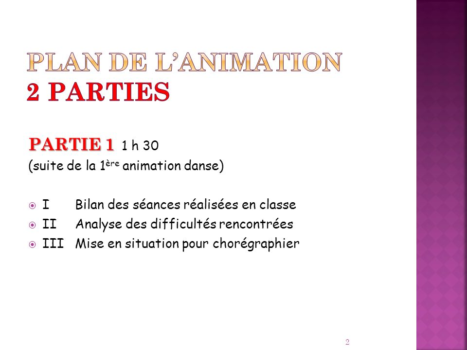 Plan de l'animation 2 parties