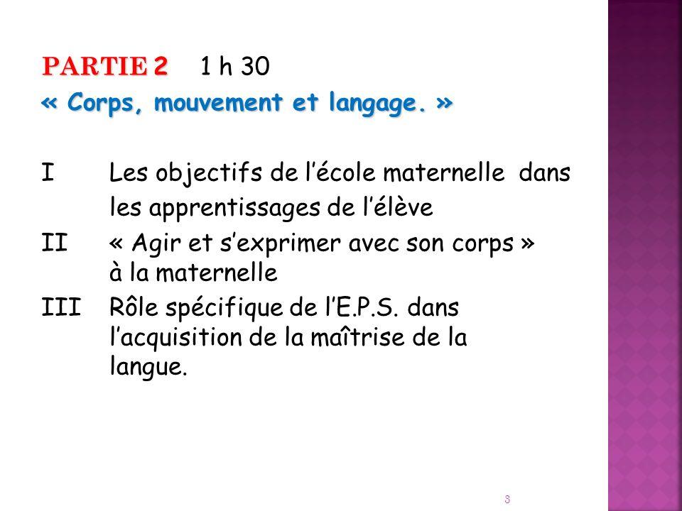 PARTIE 2 1 h 30 « Corps, mouvement et langage. » I Les objectifs de l'école maternelle dans. les apprentissages de l'élève.