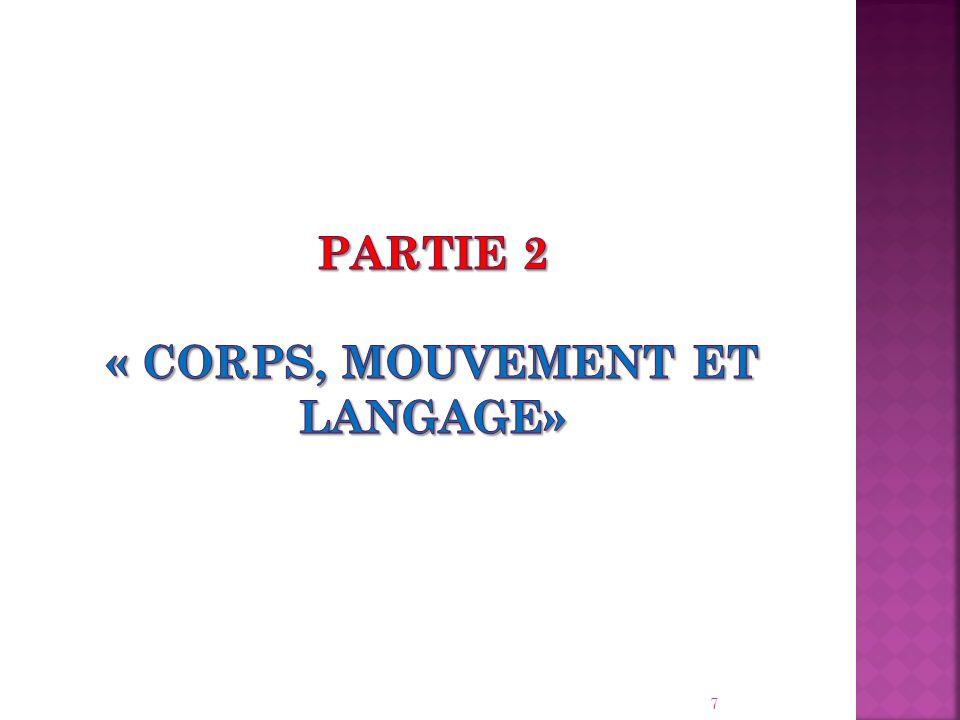PARTIE 2 « Corps, mouvement et langage»
