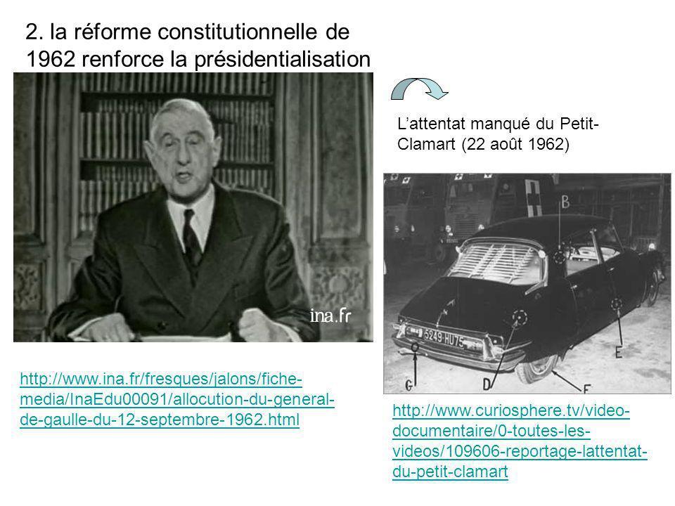 2. la réforme constitutionnelle de 1962 renforce la présidentialisation