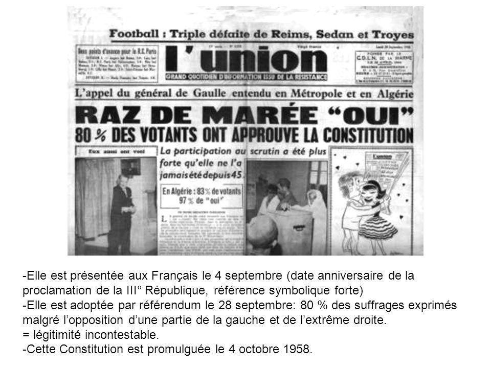 -Elle est présentée aux Français le 4 septembre (date anniversaire de la proclamation de la III° République, référence symbolique forte)