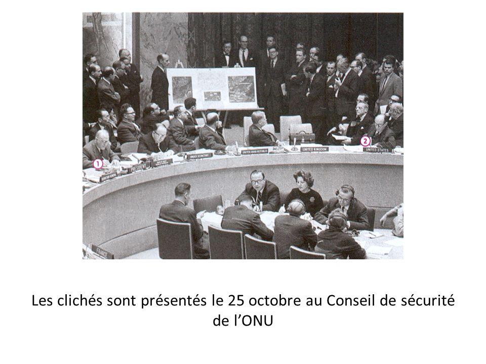 Les clichés sont présentés le 25 octobre au Conseil de sécurité de l'ONU
