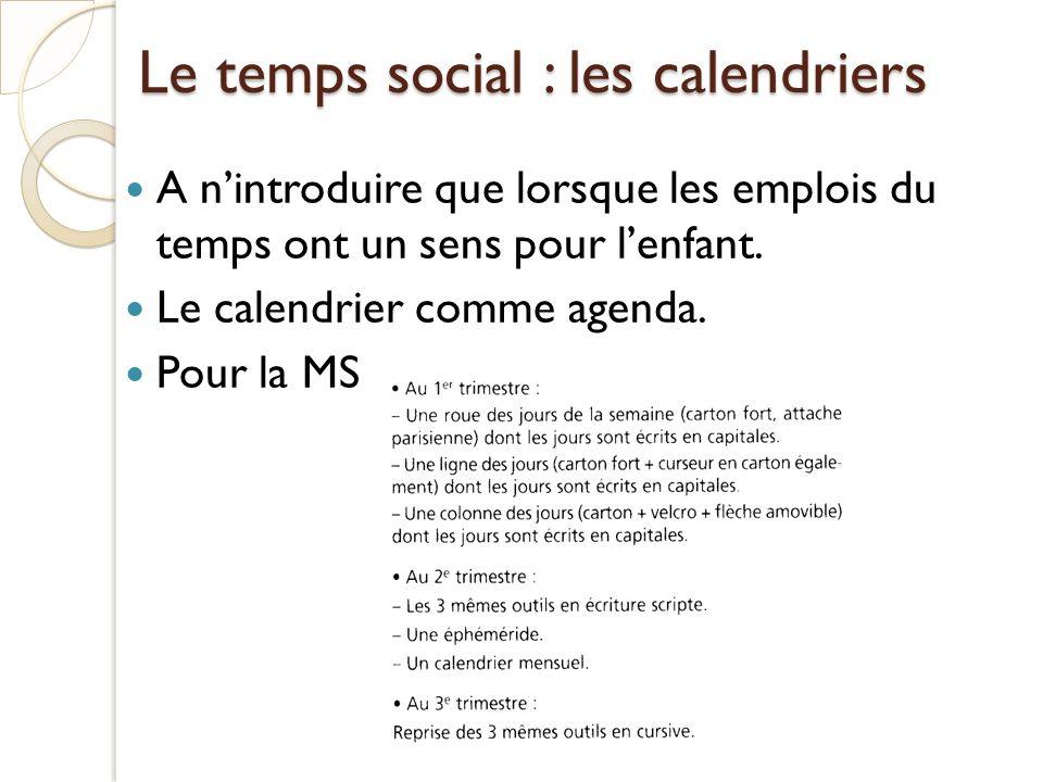 Le temps social : les calendriers