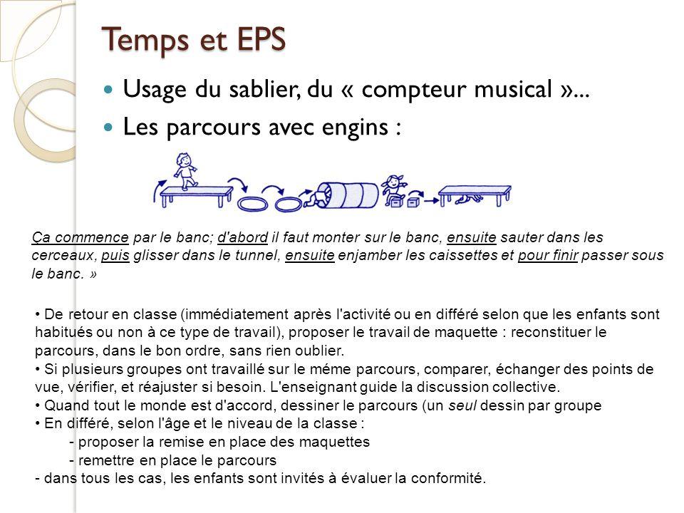 Temps et EPS Usage du sablier, du « compteur musical »...