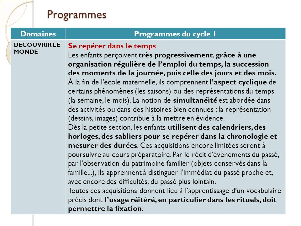 Programmes Domaines Programmes du cycle 1 Se repérer dans le temps