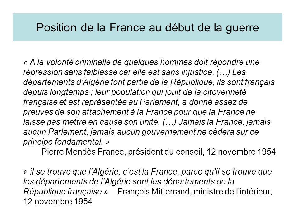 Position de la France au début de la guerre