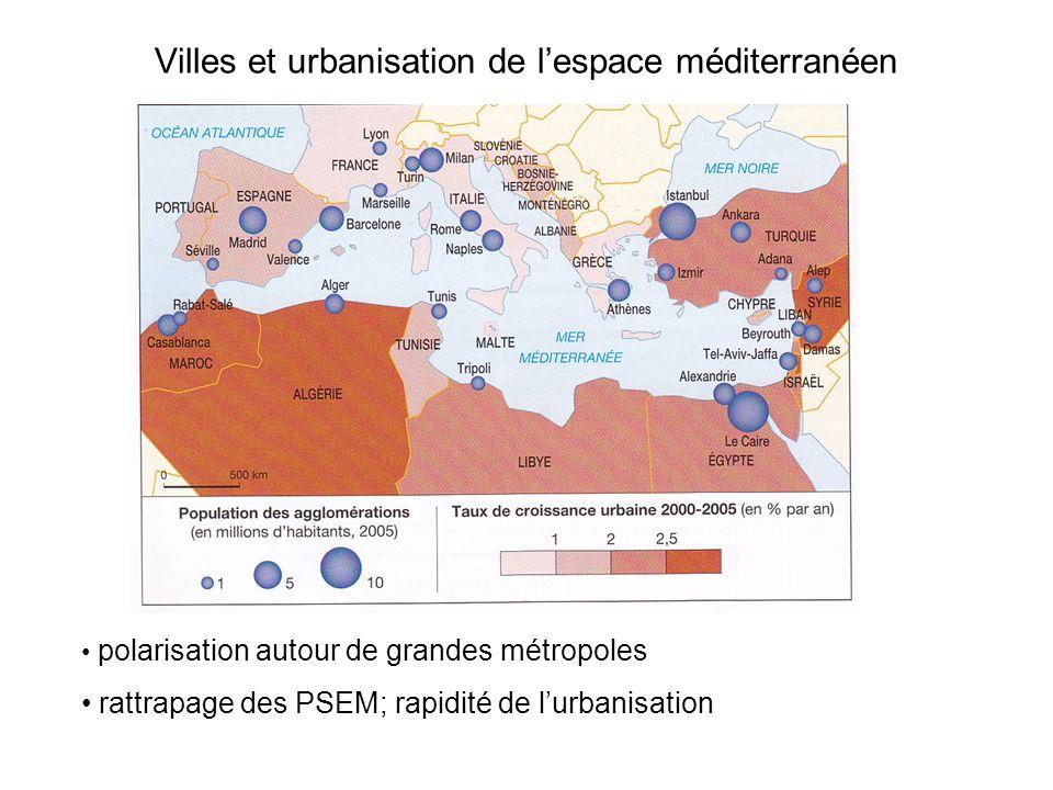Villes et urbanisation de l'espace méditerranéen