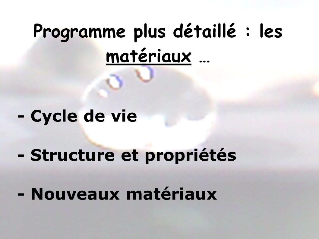 Programme plus détaillé : les matériaux …
