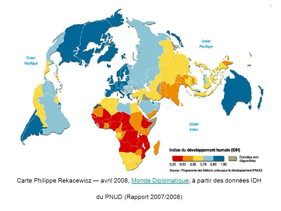 Carte Philippe Rekacewicz — avril 2008, Monde Diplomatique, à partir des données IDH du PNUD (Rapport 2007/2008)
