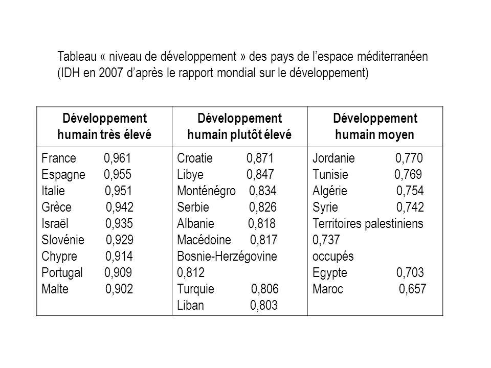 Tableau « niveau de développement » des pays de l'espace méditerranéen