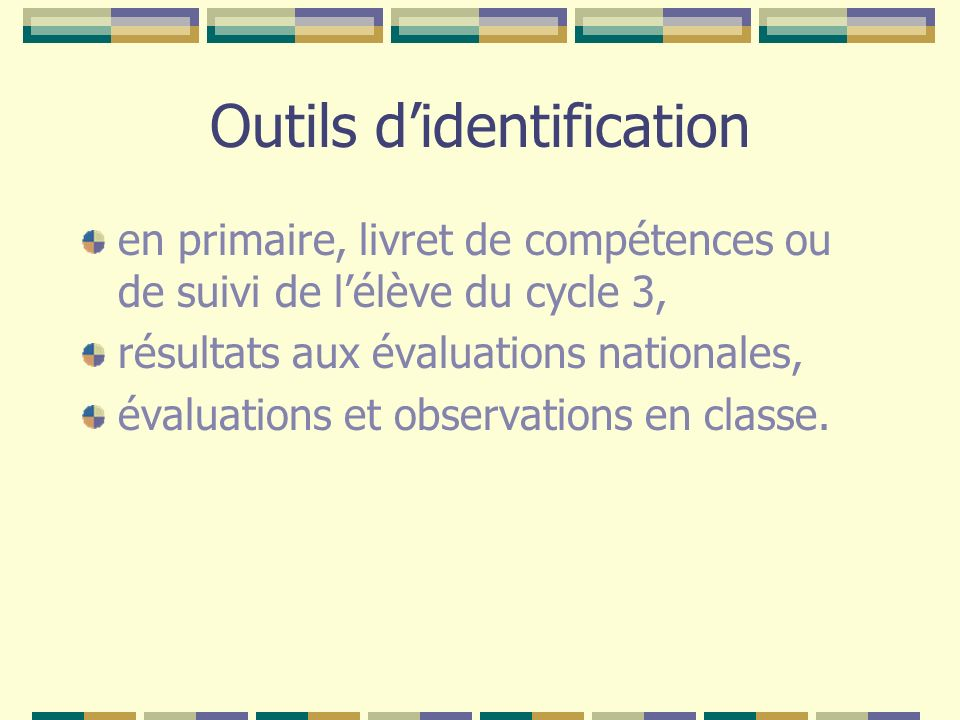 Outils d'identification