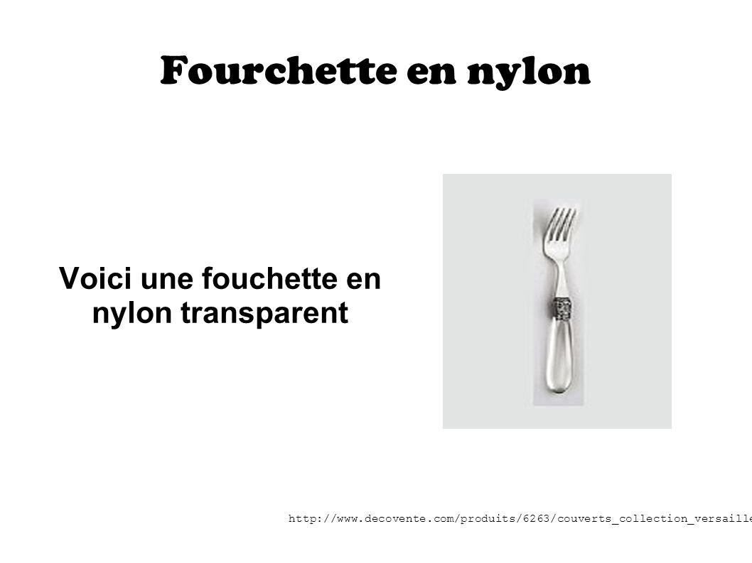 Voici une fouchette en nylon transparent
