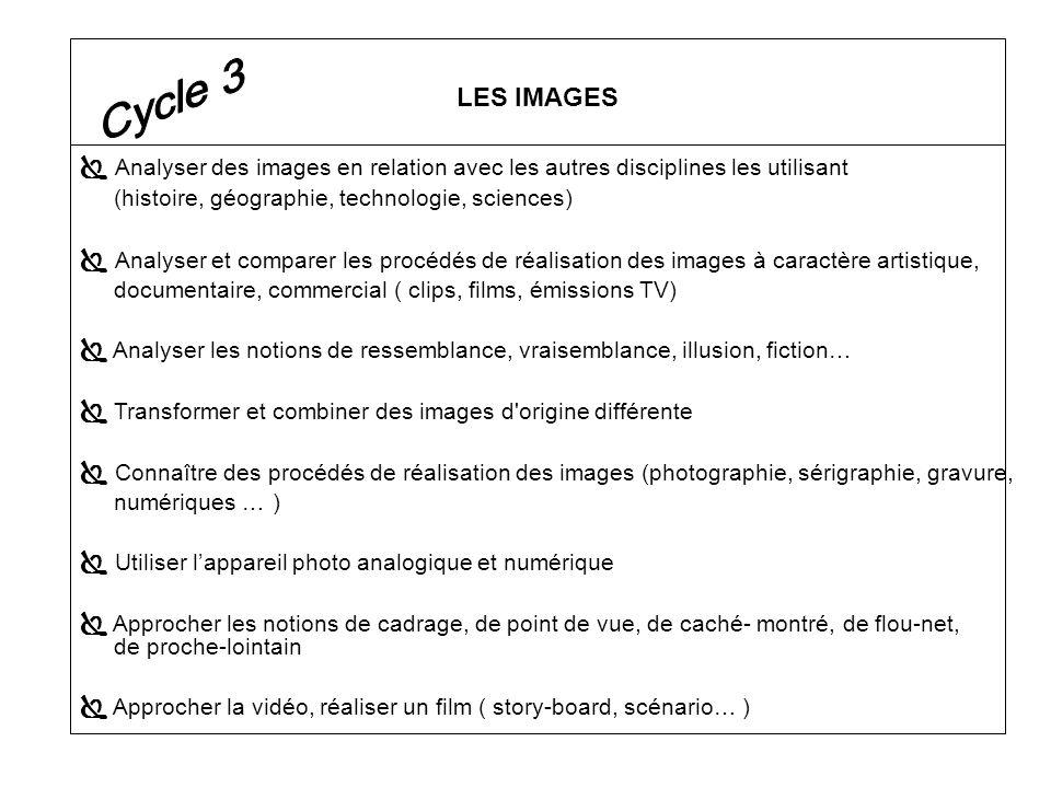 LES IMAGES Cycle 3.  Analyser des images en relation avec les autres disciplines les utilisant. (histoire, géographie, technologie, sciences)
