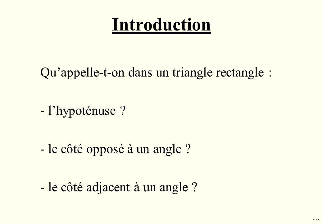 Introduction Qu'appelle-t-on dans un triangle rectangle :