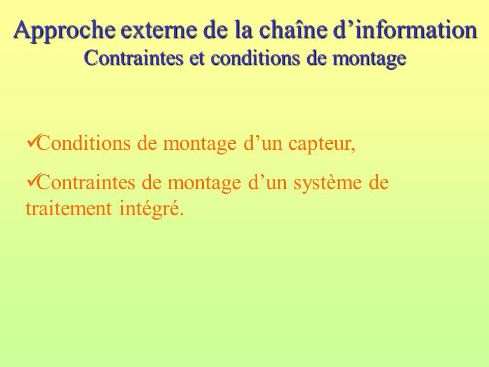 Approche externe de la chaîne d'information Contraintes et conditions de montage