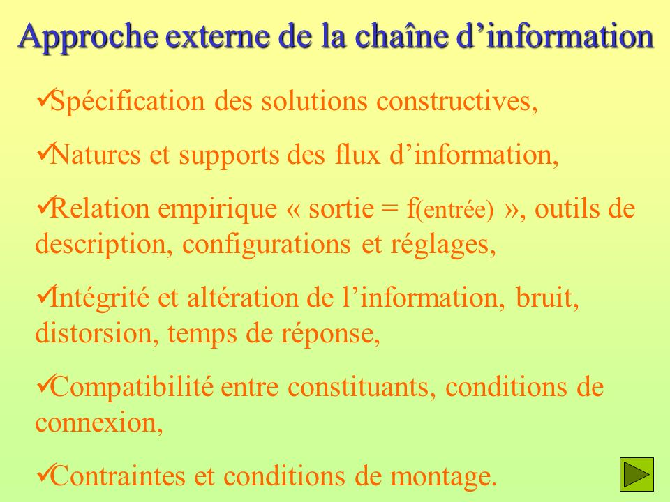 Approche externe de la chaîne d'information