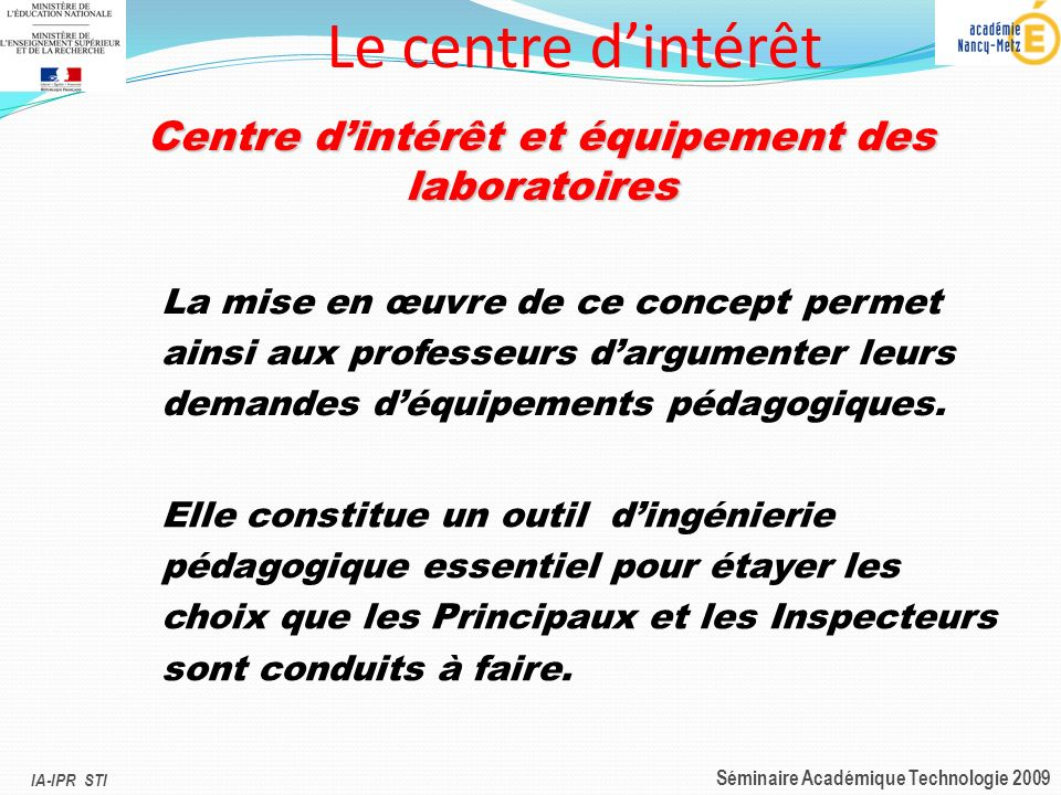 Centre d'intérêt et équipement des laboratoires