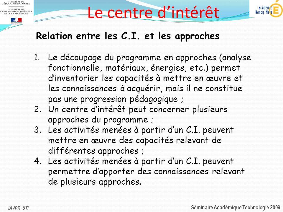 Le centre d'intérêt Relation entre les C.I. et les approches