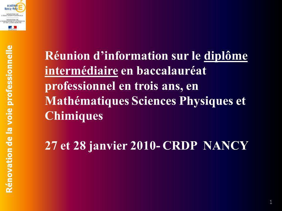 Réunion d'information sur le diplôme intermédiaire en baccalauréat professionnel en trois ans, en Mathématiques Sciences Physiques et Chimiques