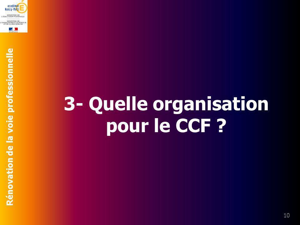 3- Quelle organisation pour le CCF