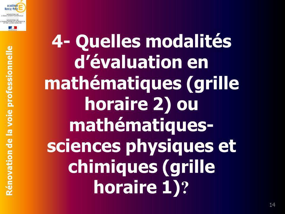 4- Quelles modalités d'évaluation en mathématiques (grille horaire 2) ou mathématiques-sciences physiques et chimiques (grille horaire 1)