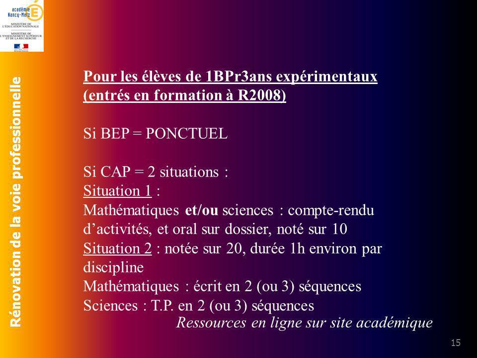 Pour les élèves de 1BPr3ans expérimentaux (entrés en formation à R2008)