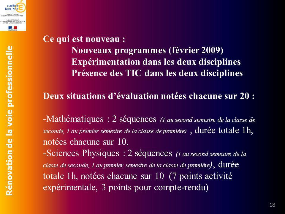 Ce qui est nouveau : Nouveaux programmes (février 2009) Expérimentation dans les deux disciplines.