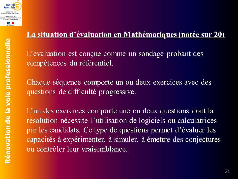 La situation d'évaluation en Mathématiques (notée sur 20)