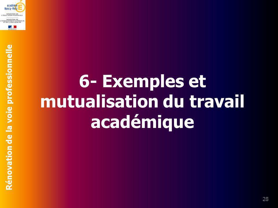 6- Exemples et mutualisation du travail académique