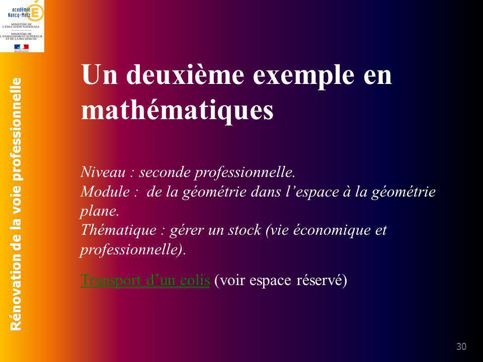 Un deuxième exemple en mathématiques