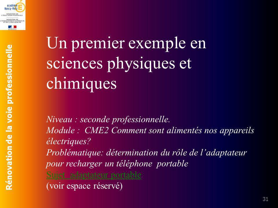 Un premier exemple en sciences physiques et chimiques