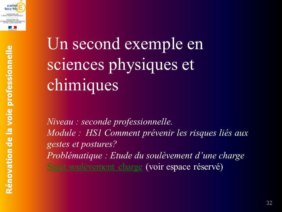 Un second exemple en sciences physiques et chimiques